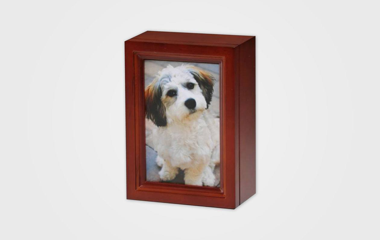 4 X 6 Wooden Photo Frame Pet Urn In Cherry Peaceful Pets Aquamation
