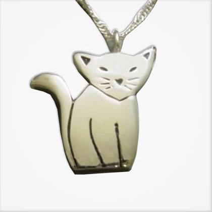 silver cat urn necklace peaceful pets aquamation