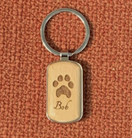 Wood and Silver Keychain Image